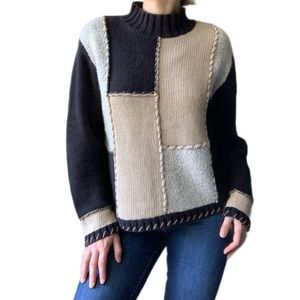 Vintage Hand Embroidered Quilted Knit Sweater